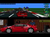 Lotus Esprit Turbo Challenge Amiga Sweden, lots of obstacles on the road