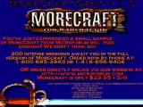 Morecraft for Warcraft II DOS Demo splash screen with ordering information (shown upon exit into DOS).