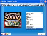 Galaxy of Games: 50,000 Windows Disc One displays this screen.<br>Clicking on a game installs it, the game is then played via the desktop icon or the Windows Start Menu