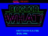 Doctor What! ZX Spectrum The title screen looks very similar to the TV show in 1985