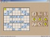 Su Doku Master Windows The Classic theme<br>Numbers are dragged from the right to their position in the grid<br>Here the player has right clicked to show which numbers can be placed in a cell