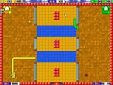 Snake Arena Windows Playing against the computer. Here the player is yellow and has just eaten a rabbit.