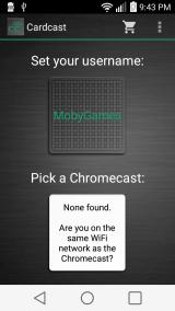 Cardcast Android Ready to connect to Google Chromecast (portrait orientation)
