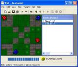 Blobs Windows A game in progress using the Walls board<br>the small green dots show available jumps for the red piece on the right
