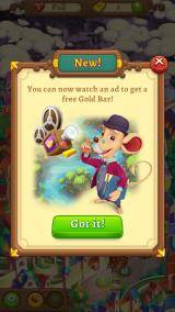 AlphaBetty Saga Android I can watch an ad for a free Gold Bar