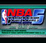 NBA in the Zone 2000 PlayStation NBA Power Dunkers 5 title screen.