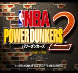 NBA in the Zone 2 PlayStation NBA Power Dunkers 2 title screen & main menu.