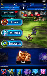 Final Fantasy: Brave Exvius Android Main menu with most of the options