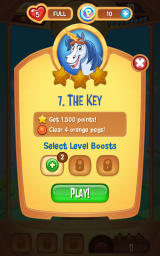 Peggle: Blast Android Start of a new level. Optionally a booster can be activated.