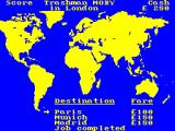 Travel with Trashman ZX Spectrum The world map. This screen is returned to after the end of each mini-game.