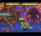 Teenage Mutant Ninja Turtles: Tournament Fighters SNES Armaggon evading Leonardo's attack