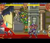Teenage Mutant Ninja Turtles: Tournament Fighters SNES Leonardo vs Chrome Dome