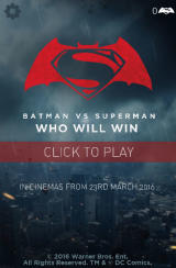 Batman v Superman: Who Will Win Browser Title Screen / Main menu