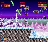 "Super Turrican SNES Using the Freeze-Beam to ""scan"" the area for secrets"