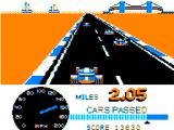 Speed Racer TRS-80 CoCo Passing the first lap (2 miles)