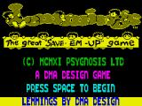 Lemmings ZX Spectrum Title screen