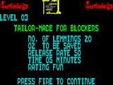 Lemmings ZX Spectrum Summary of the next level