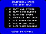 California Games ZX Spectrum The main menu