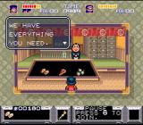 The Legend of the Mystical Ninja SNES In a store - Here you can buy armor, bombs and pizza