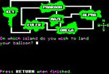 Islands of Beta Apple II Start of the game: picking and island to land on.