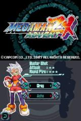 Mega Man ZX Advent Nintendo DS Character selection screen.