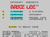 Bruce Lee ZX Spectrum Options screen