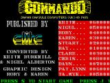 Commando ZX Spectrum Title screen