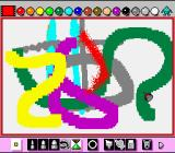 Mario Paint SNES Various types of brushes can be used to paint with