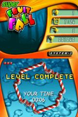 Super Fruitfall Nintendo DS Level 1 complete after all the fruits have disappeared