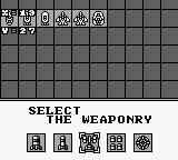 Power Mission Game Boy Select the weaponry.