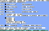 Broadsides Commodore 64 Setting up game options