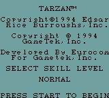 Tarzan: Lord of the Jungle Game Gear Skill level: Easy or Normal.