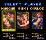 Final Fight 2 SNES Character selection