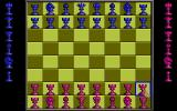 Battle Chess DOS Using the set board feature to create a custom board set up. I changed all the pawns into rooks. (VGA)