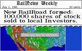 Sid Meier's Railroad Tycoon Atari ST New railroad formed! Start of the game in the Western US map.
