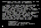 Hacker II: The Doomsday Papers Apple II Greetings from the US Government - apparently those NSA wiretaps are real!