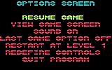 Revenge of Defender DOS The options screen (Tandy/PCjr)