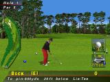 PGA Tour 96 PlayStation On the green about to tee off<br>The information bar at the bottom of the screen is removed when the player begins their swing