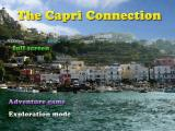 The title screen. As in previous 'Capri' games, you can both play the adventure game or just walk around