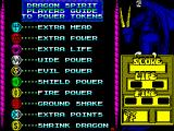 Dragon Spirit ZX Spectrum Players guide to power tokens