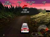International Rally Championship PlayStation Arcade Mode: The game uses red & green arrows to indicate the direction of the next bend
