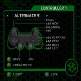 Army Men: Green Rogue PlayStation 2 One of the controller settings. Controller 1 has a default setting and five alternates, controller 2 has just the default setting
