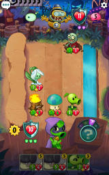 Plants vs. Zombies: Heroes Android The tree unit at the bottom has helped the mushroom next to it become stronger.