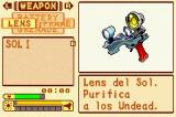 Boktai: The Sun is in Your Hand Game Boy Advance Menu (select)