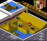 Populous SNES Burning houses.