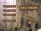 Ballerburg Windows Main menu -  the in-game pointer is a gloved hand, extending one finger when over a selectable hotspot. The in-game options are only for music/sound volume.