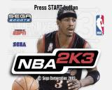 NBA 2K3 PlayStation 2 The title screen