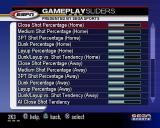 NBA 2K3 PlayStation 2 The Options menu the following options NBA Rules, Game Play, Game Play Sliders, Presentation, Camera and Controller Setup. These are the Gameplay Sliders. Lots to tinker with