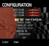 F1 Racing Championship PlayStation Configuration menu.