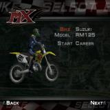 MX Superfly Featuring Ricky Carmichael PlayStation 2 Career Mode: After the character creation screen the player enters their name and race number before moving on to this bike selection screen